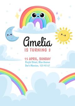 Cartoon rainbow birthday invitation