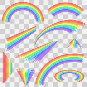 Набор мультфильм радуга. арки, кривые, круглые и волнистые радуги на прозрачном фоне. изолированные на белом фоне. векторная иллюстрация.