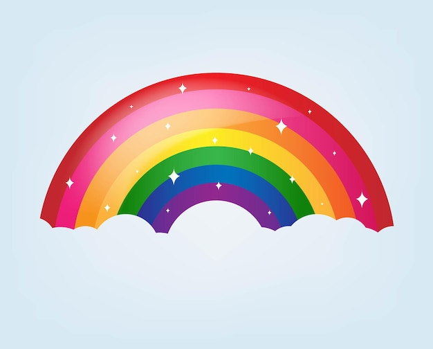Cartoon rainbow with stars and blue background