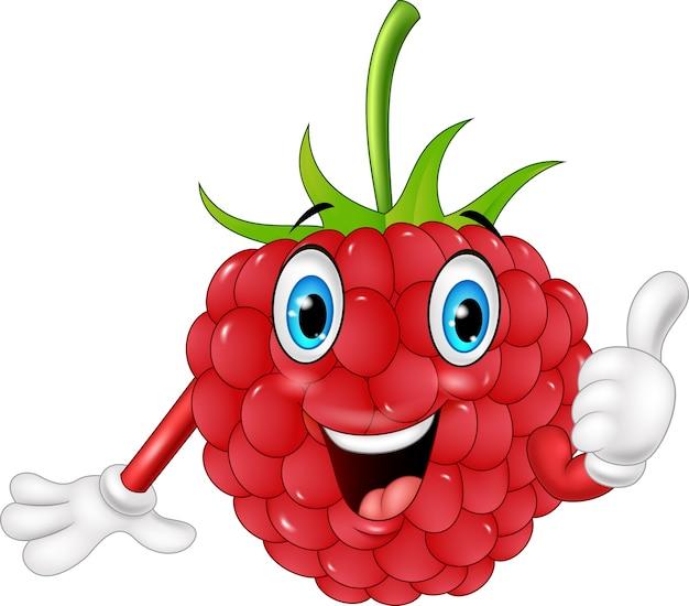 Cartoon raspberry giving thumbs up