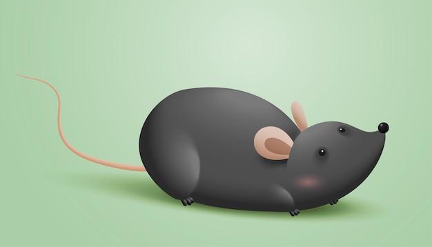 어두운 회색 모피에 만화 쥐