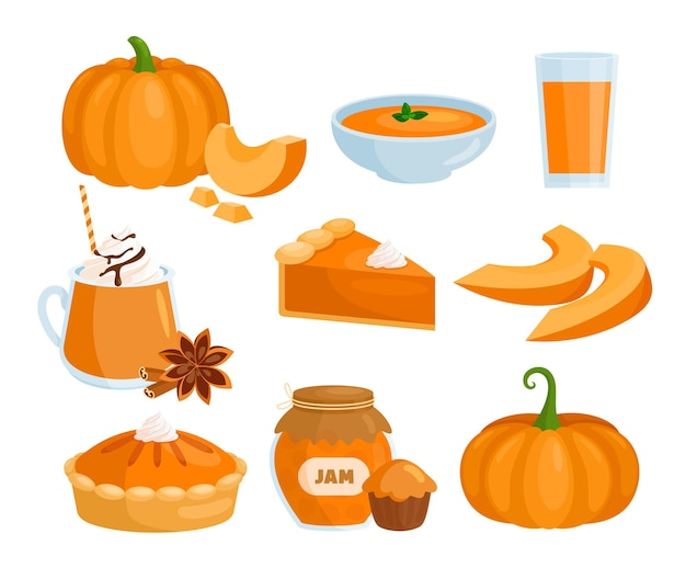 Cartoon raw and cooked pumpkin dishes soup