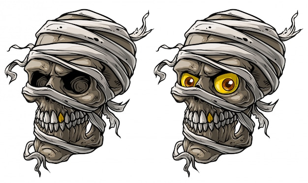 Cartoon realistic scary mummy skulls vector set