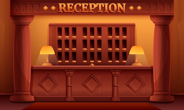 ヴィンテージの古いホテル、イラストの漫画受付インテリア
