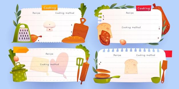 Set di note di ricette dei cartoni animati