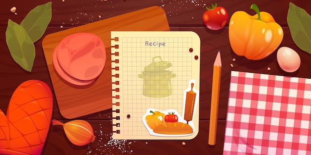 Cartoon recipe note with food