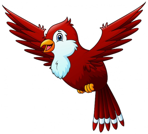 Cartoon a red bird flying in the sky