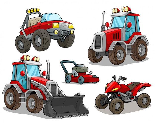 Cartoon red bulldozer offroad truck quad motorbike