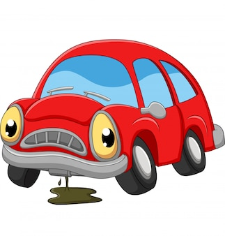 Cartoon red car sad in need of repair
