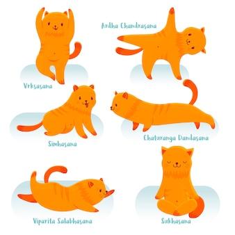 ヨガを練習している漫画の赤い猫