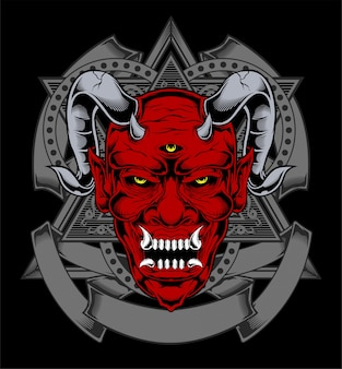 Cartoon red devil satan or lucifer demon face with horns