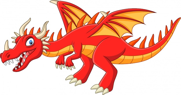 Cartoon red dragon