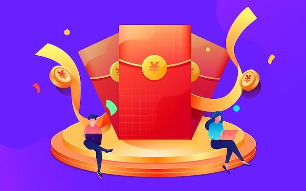 金融イラスト背景素材金融を示すステージ上の漫画の赤い封筒