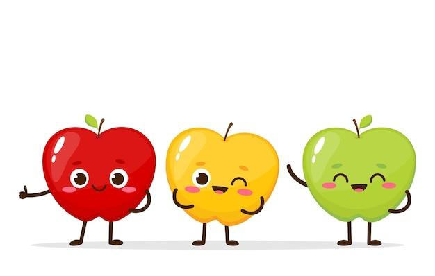 Мультяшные красные, зеленые и желтые яблоки