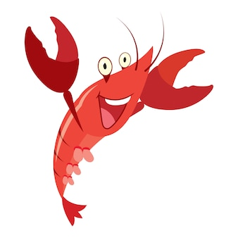 Cartoon red lobster isolated