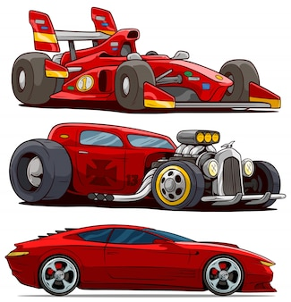 Cartoon red modern sport and retro vintage cars
