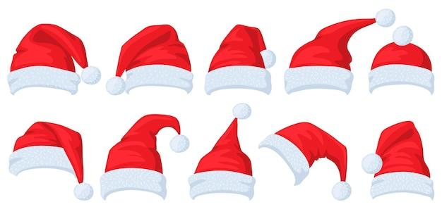 漫画の赤いサンタクロース帽子クリスマス仮面舞踏会衣装要素ベクトルイラストセット