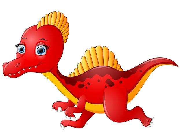 Мультфильм красный спинозавр, изолированных на белом фоне