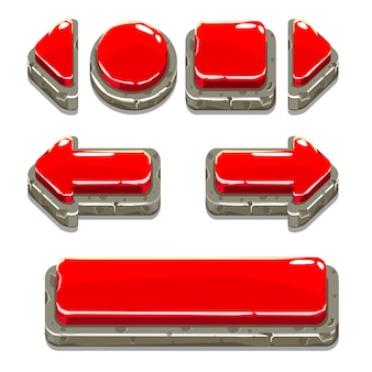 Cartoon red stone buttons for game