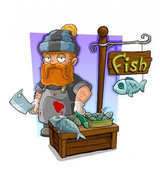 Cartoon redhead cook character and fresh fish shop
