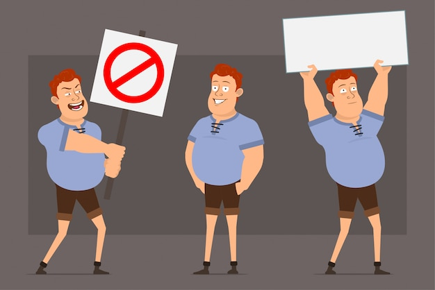 Cartoon redhead fat boy character vector set