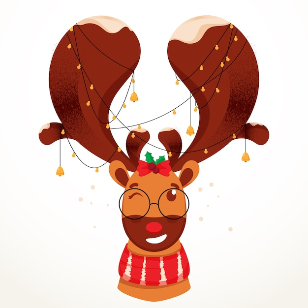 Cartoon reindeer face with lighting garland on white background.