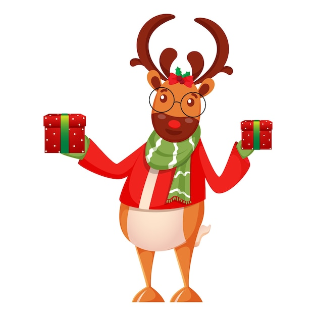 Cartoon reindeer holding gift boxes in standing pose