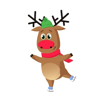Cartoon reindeer ice skating