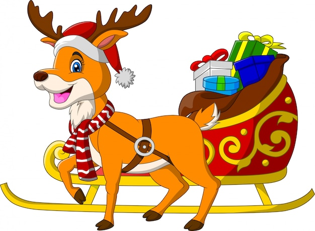 Cartoon reindeer with christmas sled sleigh and presents