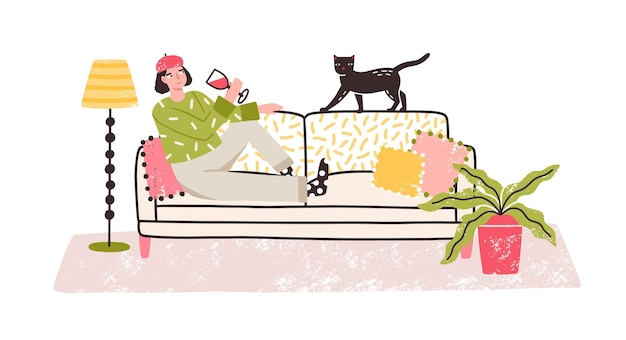 Cartoon relaxed woman drinking wine alone lying on couch at home vector flat illustration. cheerful emancipation colorful female with glass of alcohol and cat isolated on white background.