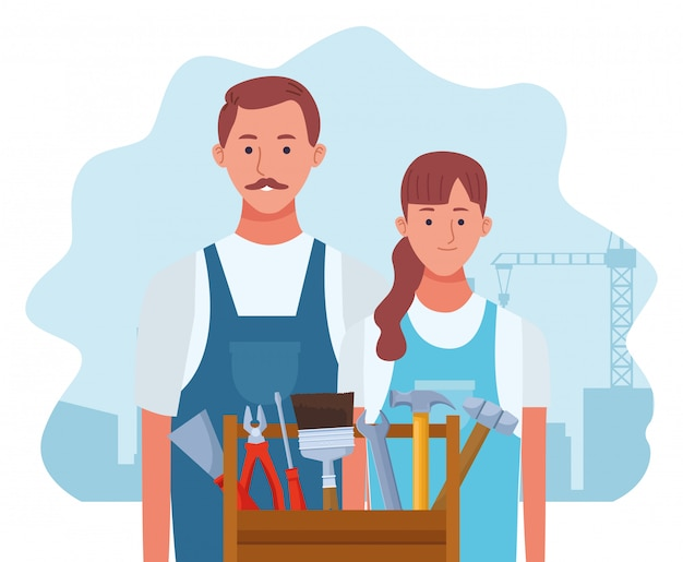 Cartoon repair woman and man with tools box
