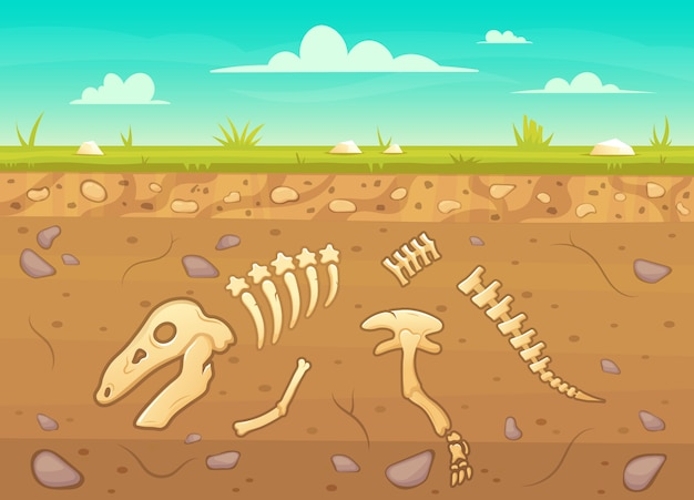 Cartoon reptile bones ground. archeology buried bones game underground, dinosaur skeleton in soil layers  background illustration. reptile archeology, ancient extinct prehistory