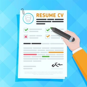 Cartoon resume or cv sample with magnifying glass examining filled. hr concept