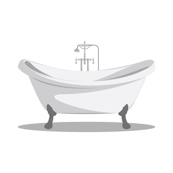 Cartoon retro bathtub icon white with arms and legs and shadow at the bottom