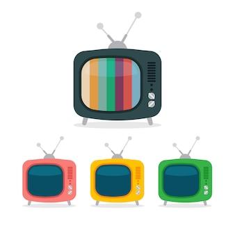 Мультфильм ретро телевизор. цветной шум телевизор значок в плоский стиль изолированы.