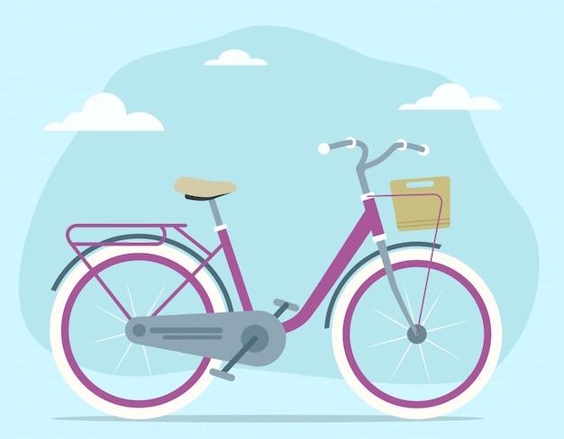 Cartoon retro vintage bicycle with travel basket