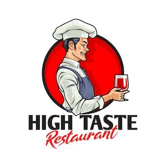 Мультфильм ретро винтаж шеф-повар характер талисман логотип