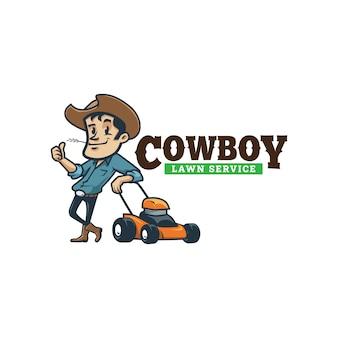 Cartoon retro vintage cowboy lawn service mascot logo
