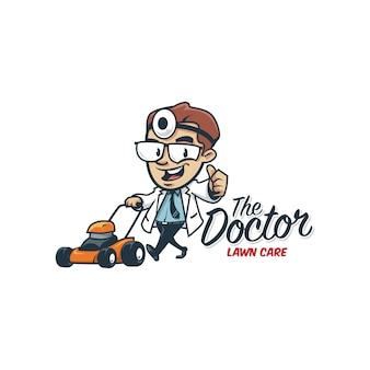 漫画のレトロなヴィンテージ医師芝生ケアマスコットロゴ