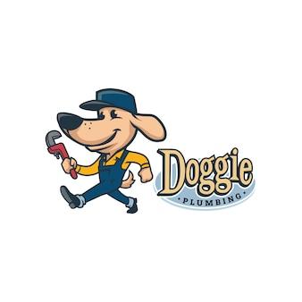 Мультфильм ретро винтажная собака сантехника талисман логотип