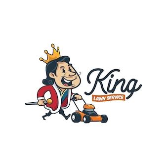 Cartoon retro vintage lawn service king mascot logo or king lawn