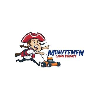 漫画のレトロなビンテージの芝生サービスのミニマンのマスコットロゴまたはミニマンのロゴ