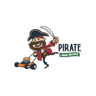 漫画のレトロなビンテージ芝生サービス海賊マスコットロゴまたは海賊ロゴ
