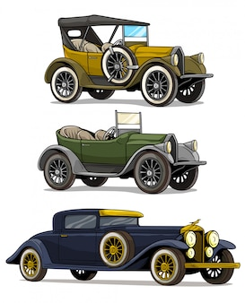 Cartoon retro vintage luxury convertible cars