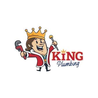 Cartoon retro vintage plumbing king mascot logo or king plumbing