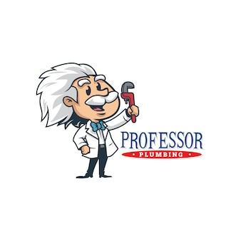 漫画のレトロなヴィンテージ配管教授マスコットロゴまたは教授ロゴ