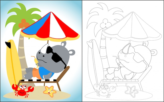Cartoon of rhino relax time in the beach
