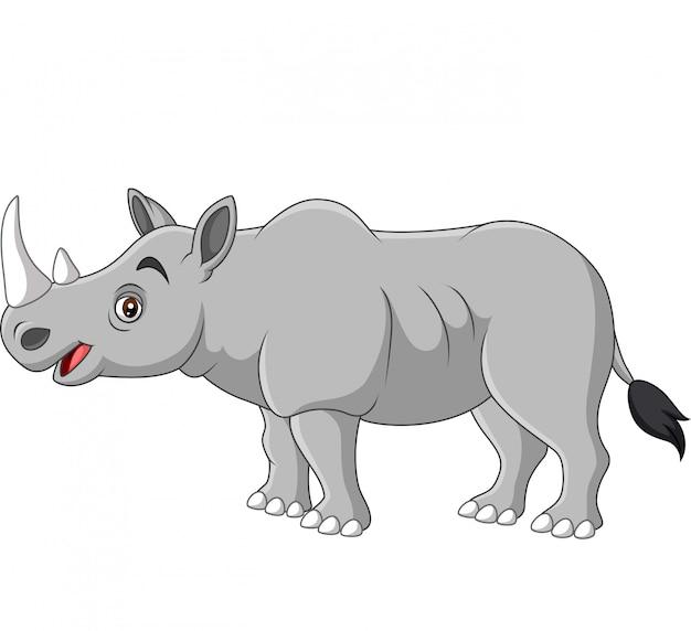 Cartoon rhino on white background