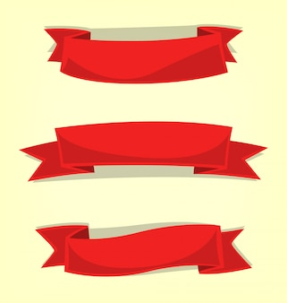 Cartoon ribbon badge flag template collection pack