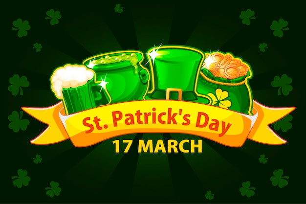 Cartoon ribbon, beer glass, money bag and pot with magic potion.  for happy st. patrick day. greeting card, poster, banner. objects on a separate layer